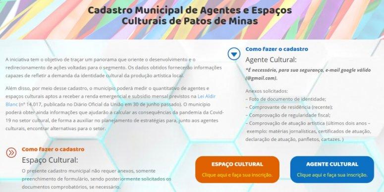 Prefeitura estende prazo para cadastro de agentes e espaços culturais