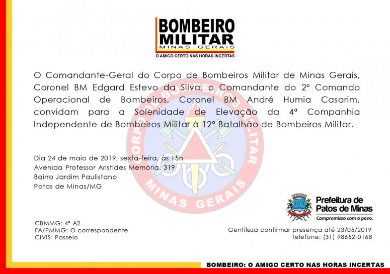 Solenidade de Elevação da 4ª Companhia Independente de Bombeiros Militar será realizada dia 24 de maio