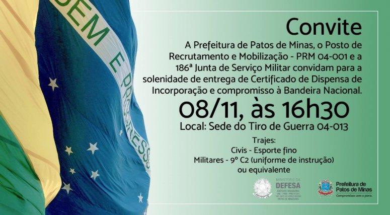 Cerimônia de juramento à Bandeira Nacional será realizada nesta quinta-feira
