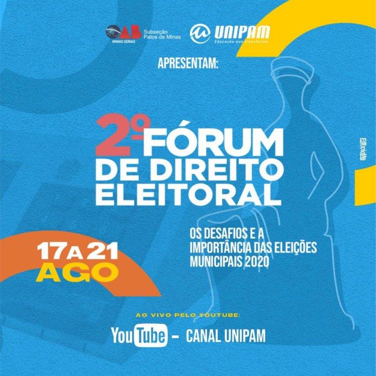 """OAB e UNIPAM promovem """"Fórum de Direito Eleitoral"""" na próxima semana"""