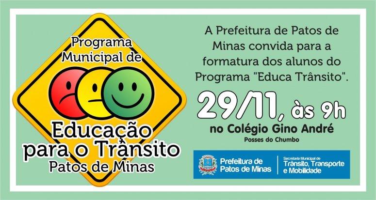 Formatura dos alunos da Escola Municipal Gino André participantes do programa Educa Trânsito