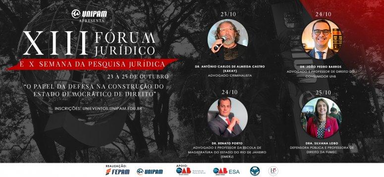 Curso de Direito promove Fórum Jurídico e Semana da Pesquisa Jurídica
