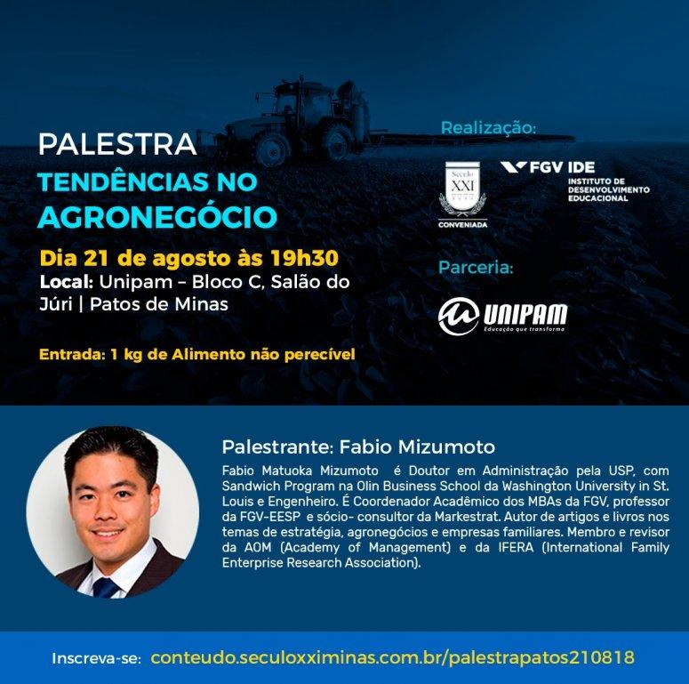 Tendências no Agronegócio é tema de palestra no UNIPAM