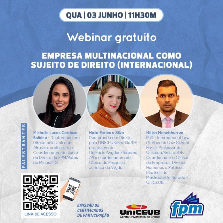 FPM divulga Webinar gratuito na área de Direito Internacional