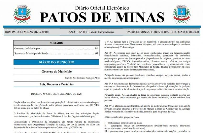 Prefeitura publica decreto com novas determinações