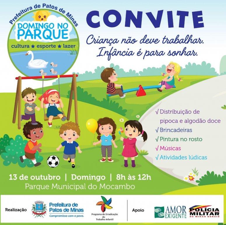 Domingo no Parque acontecerá no próximo dia 13 homenageando as crianças