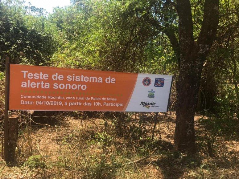 Teste sonoro é realizado na Mosaic Fertilizantes com a supervisão de membros da Defesa Civil e do Corpo de Bombeiros