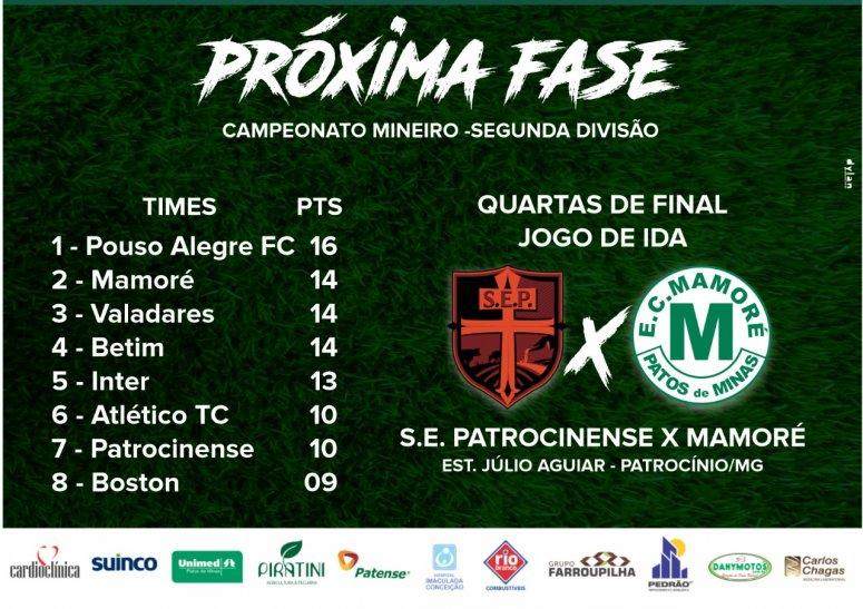 Mamoré termina primeira fase do Campeonato em segundo geral e vai enfrentar a Patrocinense