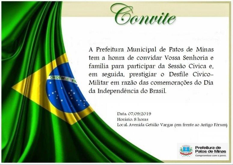 Prefeitura Municipal realizará sessão cívica para comemorar o Dia da Independência do Brasil