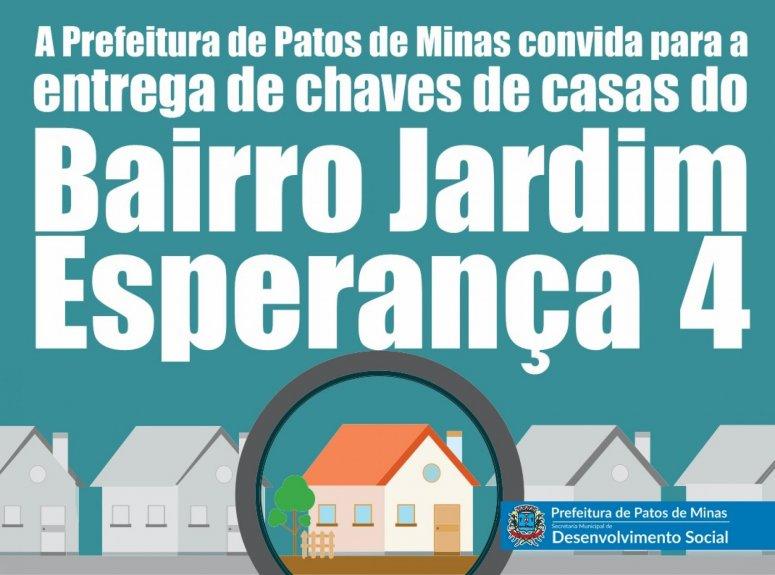 Prefeitura realiza entrega de mais unidades habitacionais do bairro Jardim Esperança IV na próxima semana