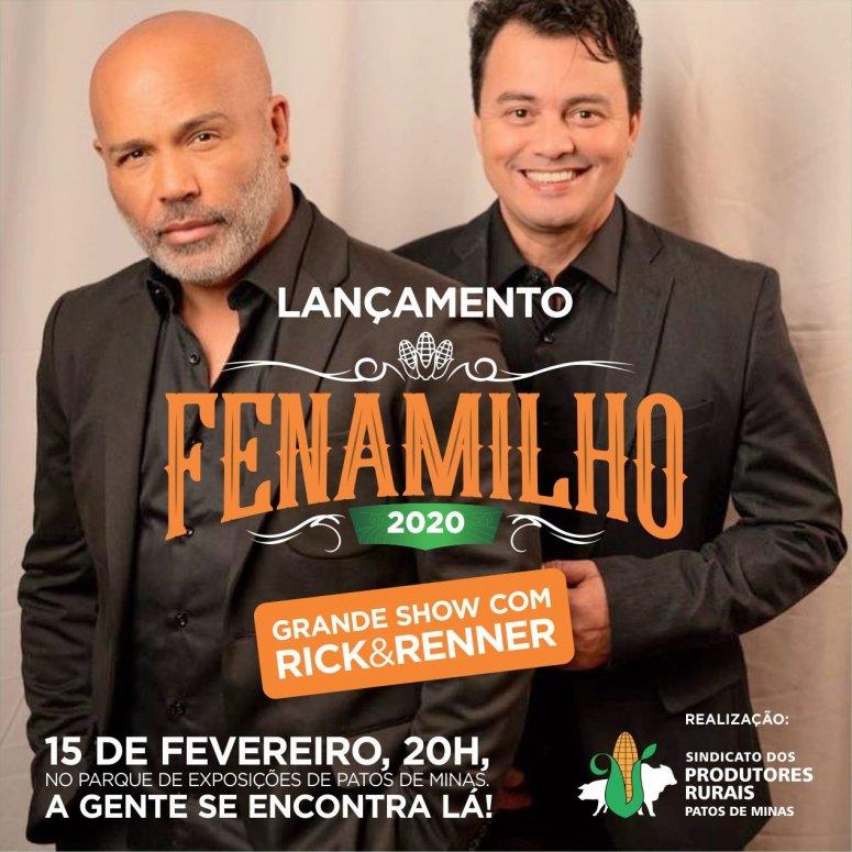 Cantores Rick & Renner farão show de lançamento da Fenamilho 2020