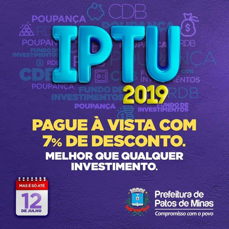Prazo para pagamento do IPTU com desconto de 7% termina na próxima sexta-feira