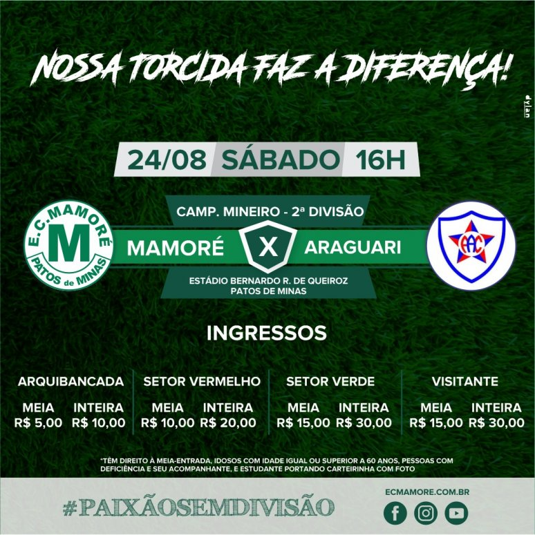Mamoré recebe o Araguari neste fim de semana e ingressos podem ser adquiridos a partir de sexta-feira