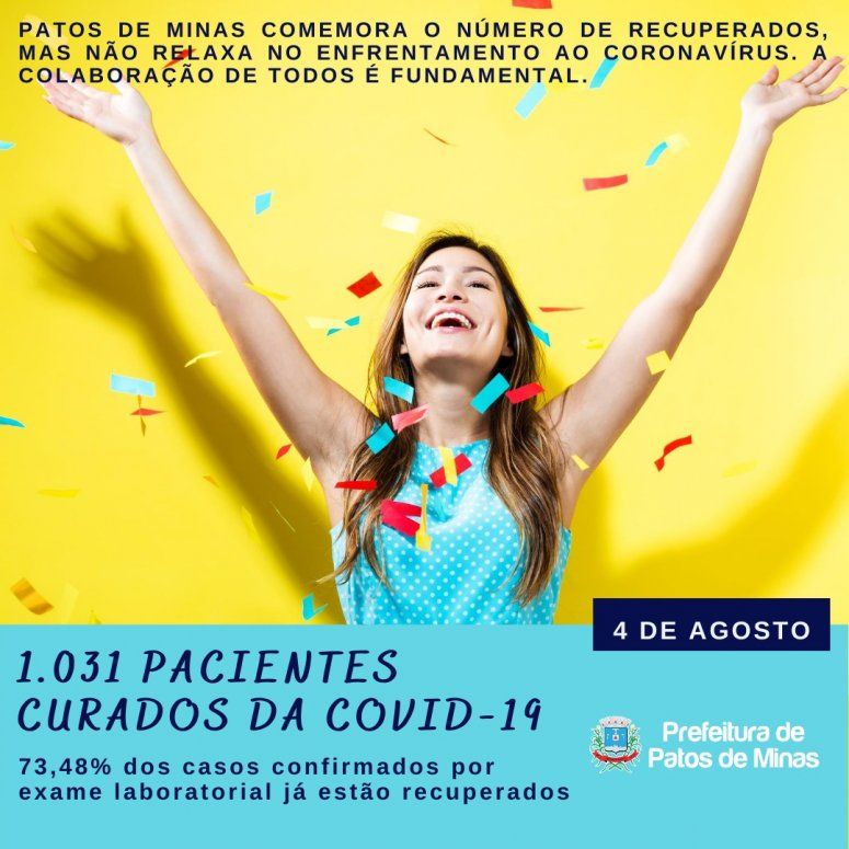 Mais de 70% dos casos de covid-19 estão recuperados em Patos de Minas