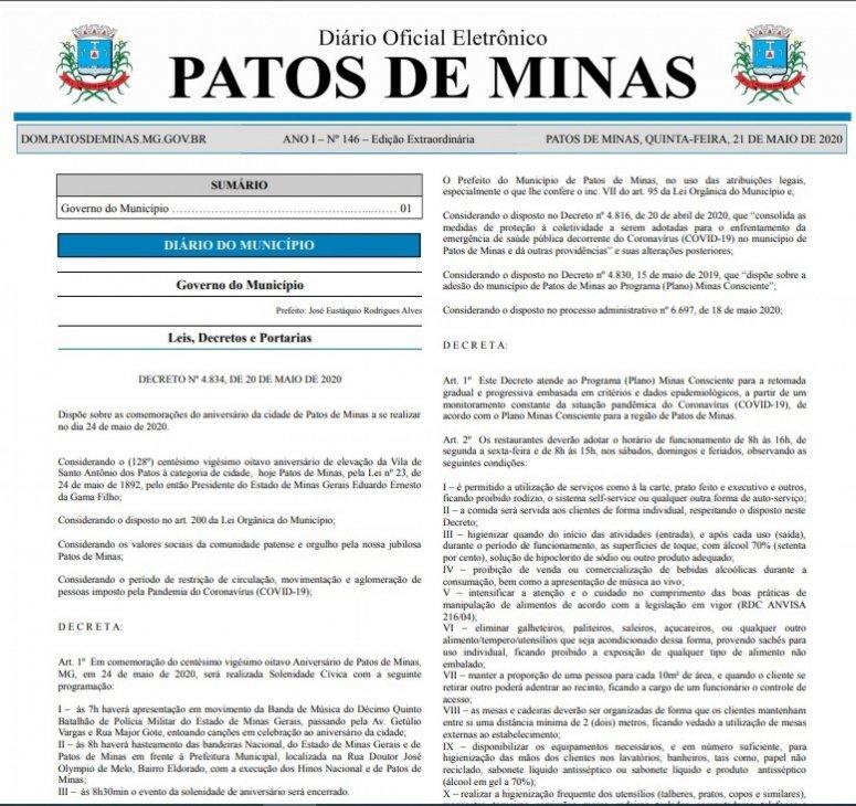 Covid-19: decreto autoriza abertura de restaurantes e estabelece regras para funcionamento