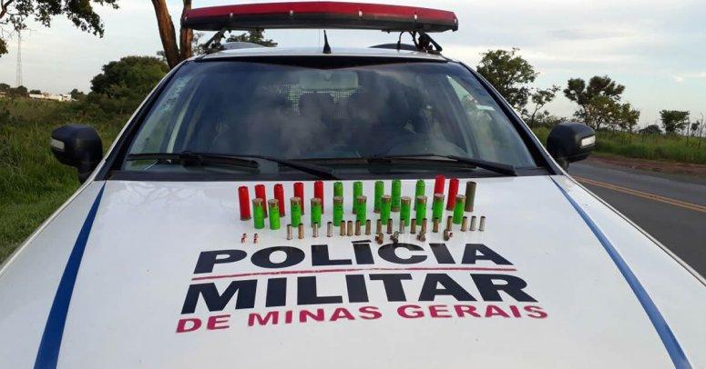 PM apreende munição de calibre 12 e 38 na região rural de JK
