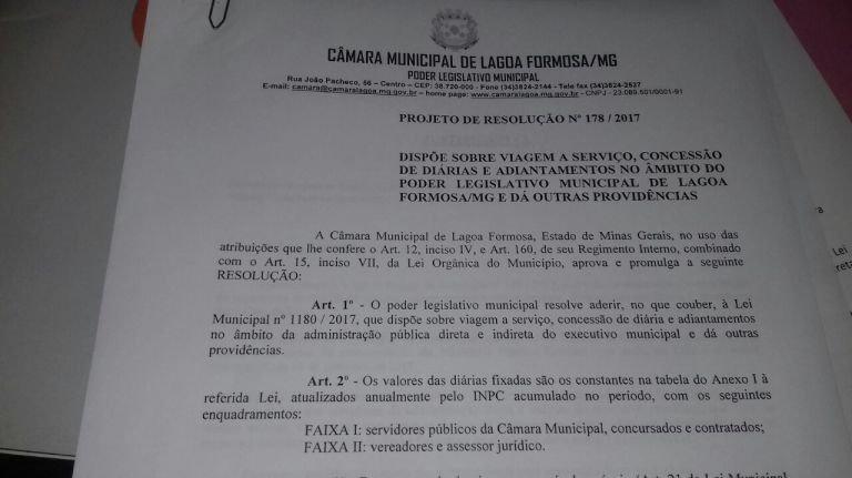 Pauta da 43ª reunião ordinária da Câmara Municipal de Lagoa Formosa
