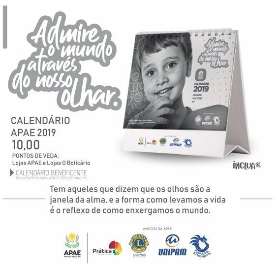 APAE lança Calendário 2019 em parceria com UNIPAM