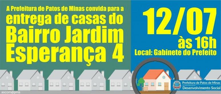 Prefeitura entregará mais 13 novas casas do bairro Jardim Esperança IV nesta quinta-feira