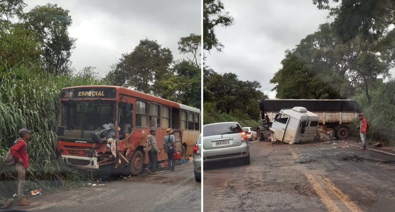 Motorista de carreta tenta fazer ultrapassagem, colide em ônibus e deixa feridos na MG 230