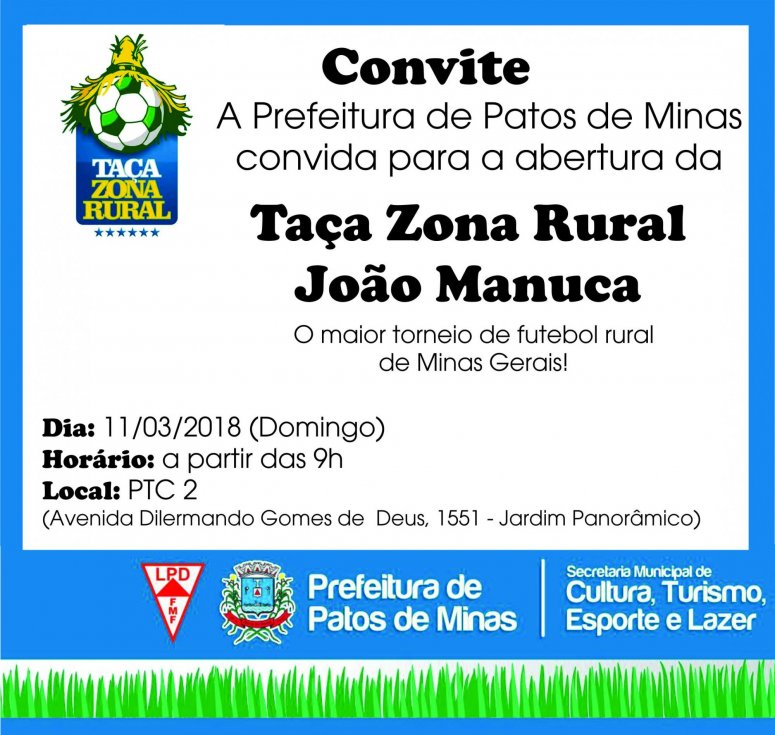 Taça Zona Rural de Futebol será aberta neste domingo