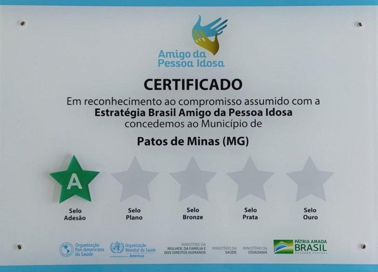 Patos de Minas recebe certificado da Estratégia Brasil - Amigo da Pessoa Idosa