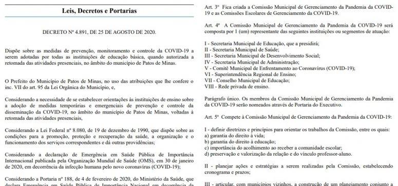 Prefeitura fará reunião para tratar sobre volta às aulas do ensino superior em Patos de Minas