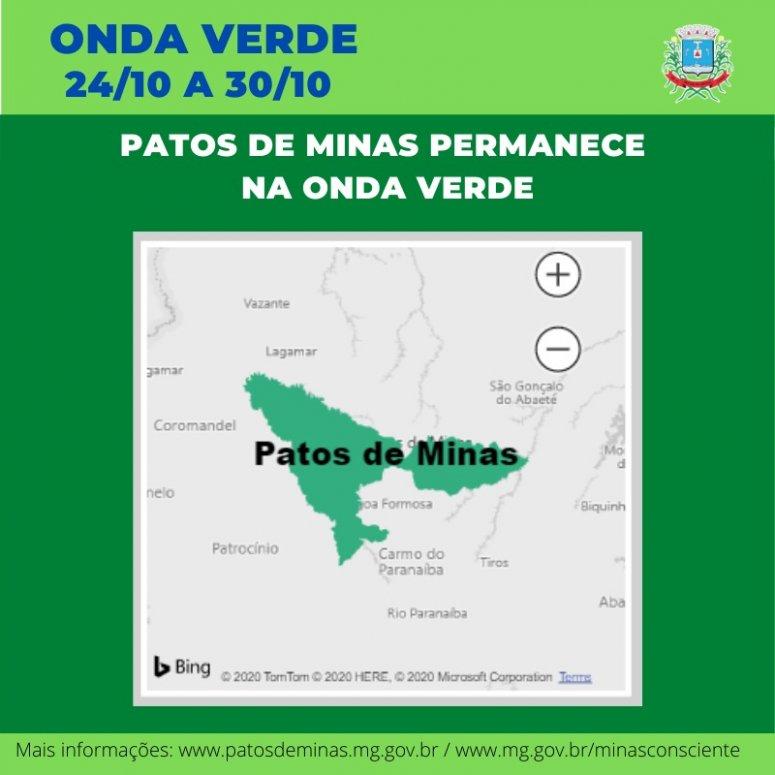 Covid-19: Patos de Minas permanece na onda verde