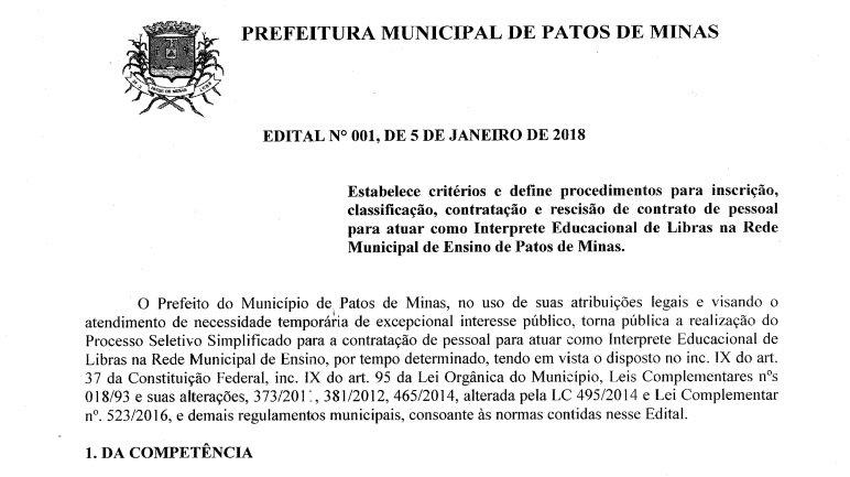 Secretaria de Educação divulga edital para contratação de Interprete Educacional de Libras