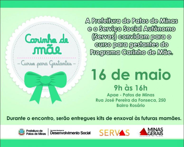 """Parceria entre a Prefeitura e Serviço Social Autônomo, programa """"Carinho de Mãe"""" será realizado na próxima quarta para gestantes"""
