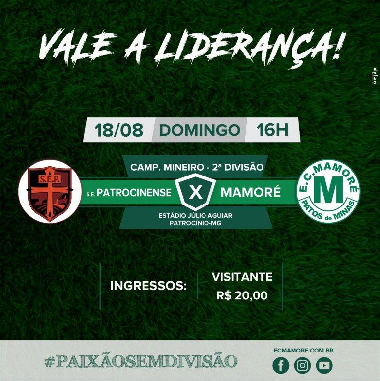 Mamoré vai a Patrocínio em seu jogo de estreia no Campeonato