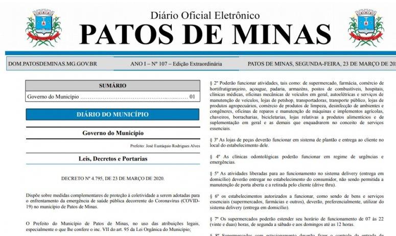 Prefeitura publica novo decreto com especificações sobre serviços essenciais